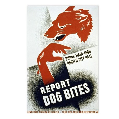 Retro Report Dog Bites Postcards (Package of 8)
