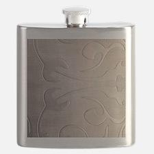 pearl grey damask pattern Flask