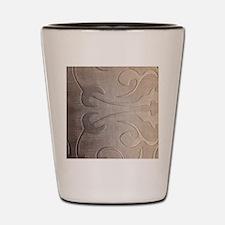 pearl grey damask pattern Shot Glass