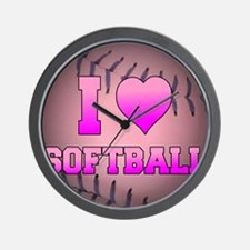 ilovesoftball_pink Wall Clock