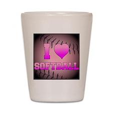 ilovesoftball_pink Shot Glass