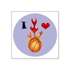 "I love Basketball Square Sticker 3"" x 3"""