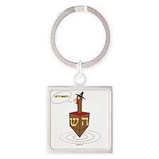 Lets Party Turkey Dreidel Square Keychain