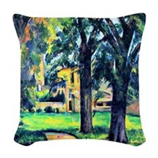 Cezanne - Chestnut Tree and Fa Woven Throw Pillow