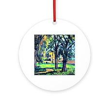 Cezanne - Chestnut Tree and Farm Round Ornament