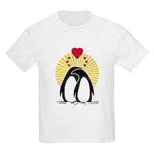 Loving Penguins (sunburst) Kids T-Shirt
