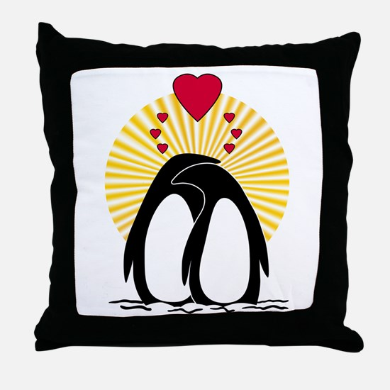 Loving Penguins (sunburst) Throw Pillow