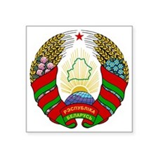 """Belarus. Coat of Arms Square Sticker 3"""" x 3"""""""