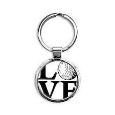 black, Golf LOVE Round Keychain