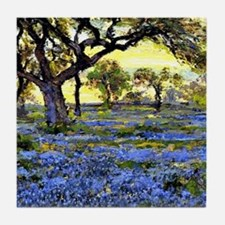 Old Live Oak Tree and Bluebonnets Tile Coaster