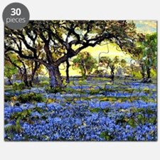 Old Live Oak Tree and Bluebonnets Puzzle