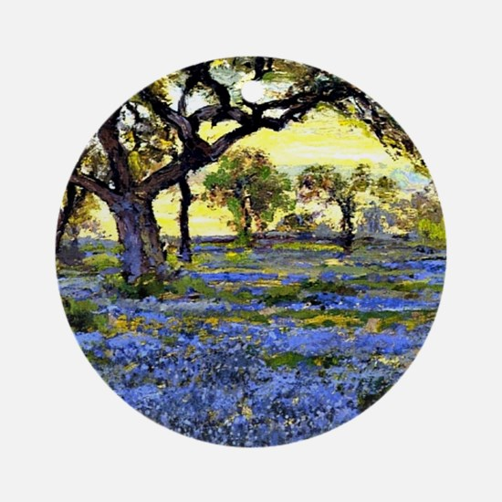 Old Live Oak Tree and Bluebonnets Round Ornament