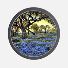 Old Live Oak Tree and Bluebonnets Wall Clock