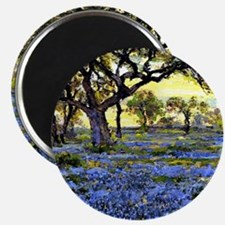 Old Live Oak Tree and Bluebonnets Magnet