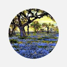 """Old Live Oak Tree and Bluebonnets 3.5"""" Button"""