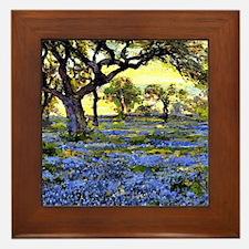 Old Live Oak Tree and Bluebonnets Framed Tile