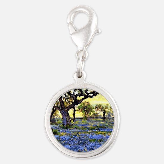 Old Live Oak Tree and Bluebonn Silver Round Charm