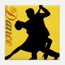 Dance Couple Silhouette Tile Coaster