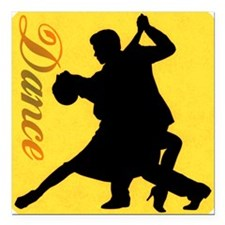 "Dance Couple Silhouette Square Car Magnet 3"" x 3"""