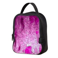 abstract maps neon pink Neoprene Lunch Bag