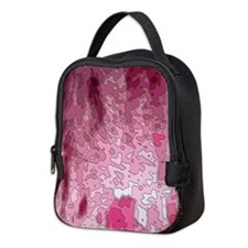 abstract maps pink Neoprene Lunch Bag