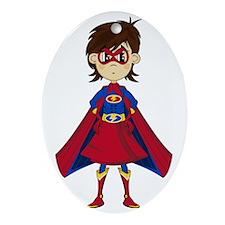 Cute Supergirl Hero Oval Ornament
