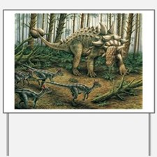 Euoplocephalus with Stygimoloch in foreground Yard