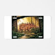 Stegosaurus Pair in Forest Aluminum License Plate