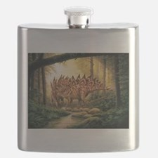 Stegosaurus Pair in Forest Flask