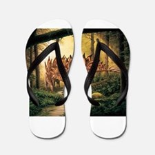 Stegosaurus Pair in Forest Flip Flops