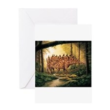 Stegosaurus Pair in Forest Greeting Cards