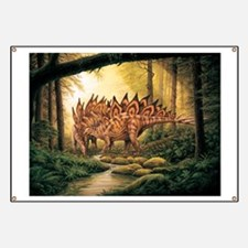Stegosaurus Pair in Forest Banner