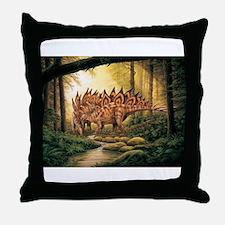 Stegosaurus Pair in Forest Throw Pillow