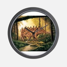 Stegosaurus Pair in Forest Wall Clock