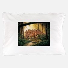 Stegosaurus Pair in Forest Pillow Case
