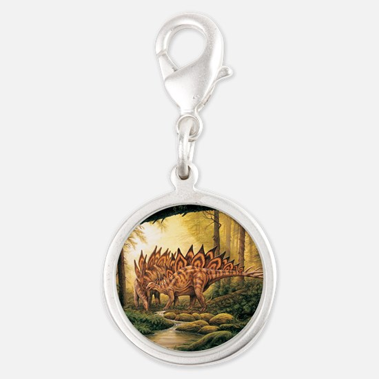 Stegosaurus Pair in Forest Charms
