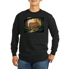 Stegosaurus Pair in Forest Long Sleeve T-Shirt