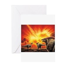 Parasaurolophus Meteor Strike Greeting Cards