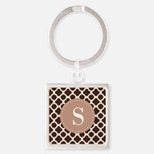 Quatrefoil Pattern Brown and White with Monogram K