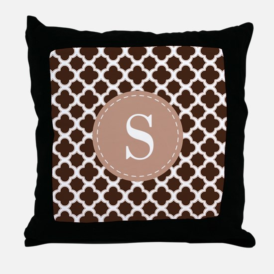 Quatrefoil Pattern Brown and White with Monogram T