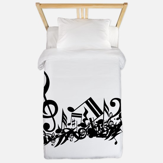 Black Muddled Musical notes Twin Duvet
