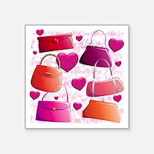 """558 I Love Handbags for Caf Square Sticker 3"""" x 3"""""""