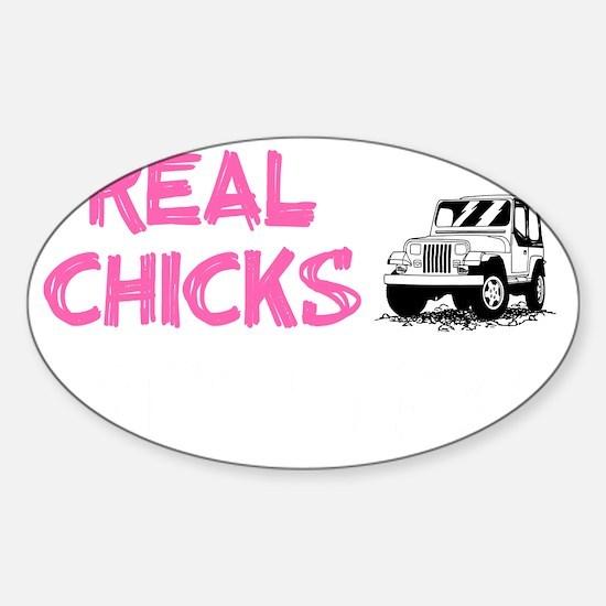 Real Chicks Drive Sticks - Hot Pink Sticker (Oval)