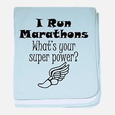I Run Marathons What's Your Super Power? baby blan