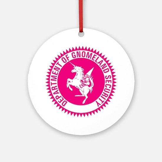 GNOMELAND SECURITYhot pink Round Ornament