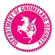 GNOMELAND SECURITYhot pink Round Car Magnet