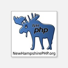 "New Hampshire PHP Moose Log Square Sticker 3"" x 3"""