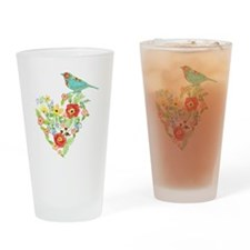 Ranunculus Daisy Rose Flower Heart  Drinking Glass