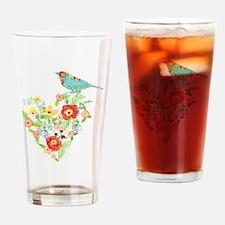 Ranunculus Daisy Rose Flower Heart  Drinking Glass