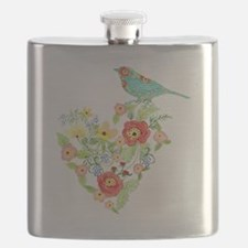 Ranunculus Daisy Rose Flower Heart Bird Patt Flask